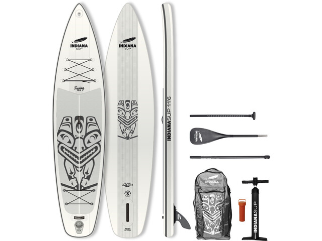 Indiana SUP 11'6 Touring Pack Premium Inflatable SUP with 3-Pieces Carbon Paddle, white/grey